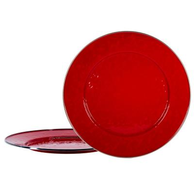 Solid Red 12.5 in. Enamelware Round Chargers (Set of 2)
