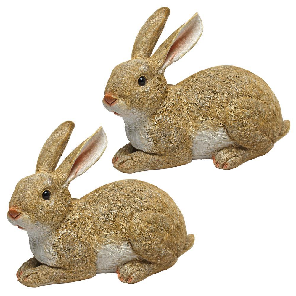 Bashful the Bunny Lying Down Garden Rabbit Statue Set (2-Piece)