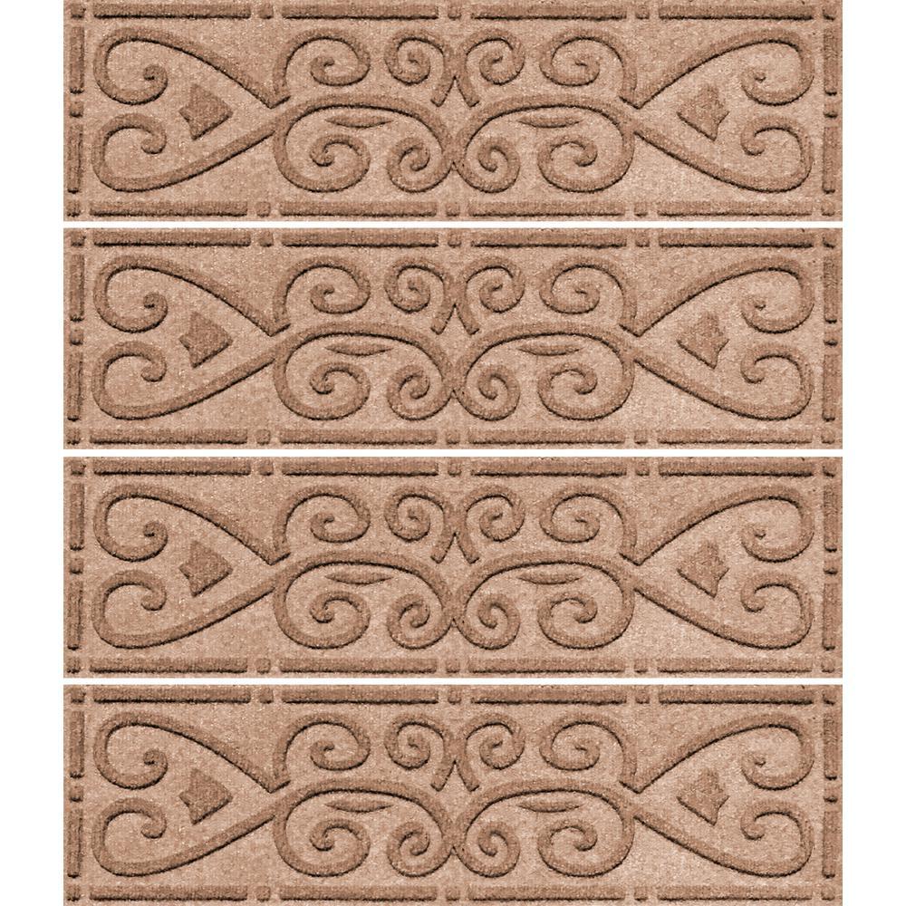 Medium Brown 8.5 in. x 30 in. Scroll Stair Tread Cover (Set of 4)