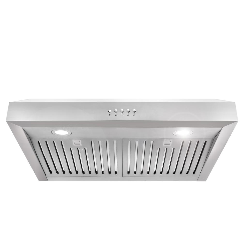 Ducted Under Cabinet Range Hood In Stainless Steel With Led Lighting And