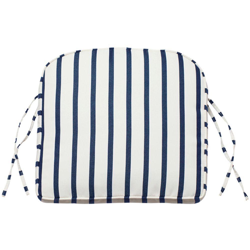 Home Decorators Collection Lido Indigo Sunbrella Contoured Box-Edge Outdoor Chair Cushion