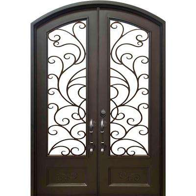74 in. x 97.5 in. Eyebrow Islamorada Dark Bronze Full Lite Painted Wrought Iron Prehung Front Door (Hardware Included)