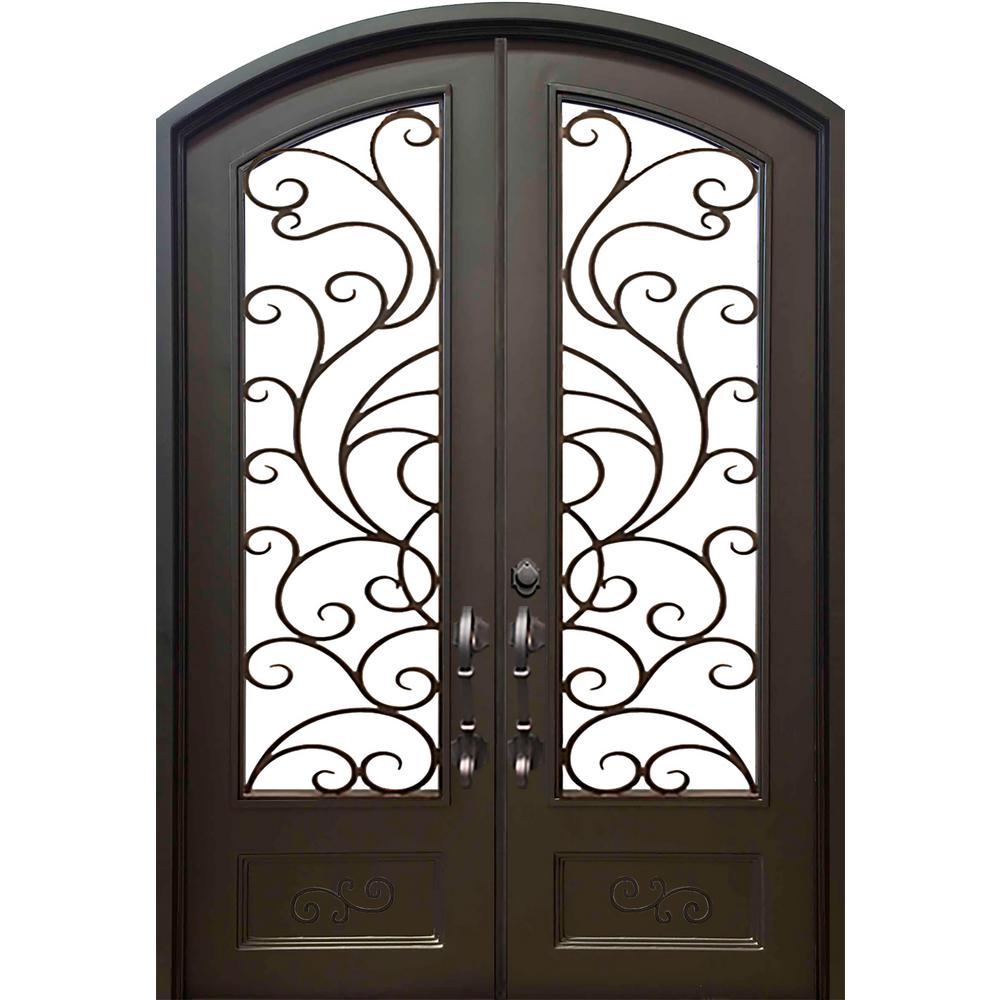74 in. x 97.5 in. Eyebrow Islamorada Dark Bronze Full Lite Painted Wrought Iron Prehung Front Door (Hardware Included)