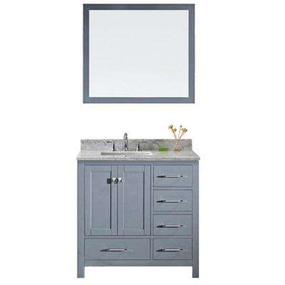 Caroline Avenue 36 in. W Bath Vanity in Gray with Marble Vanity Top in White with Square Basin and Mirror