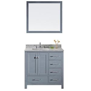 Virtu USA Caroline Avenue 36 inch W x 22 inch D x 33.46 inch H Grey Vanity With Marble Vanity Top With White Square... by Virtu USA