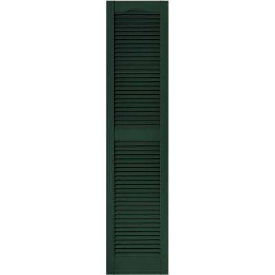 15 in. x 64 in. Louvered Vinyl Exterior Shutters Pair in #122 Midnight Green