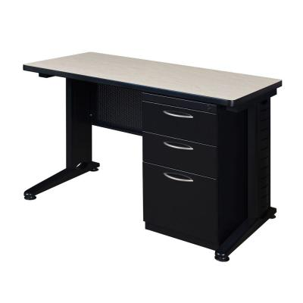 Pendulum 48 in. W x 24 in. D Maple Single Pedestal Desk