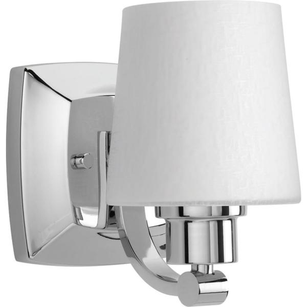 Glance Collection 1-Light Polished Chrome Bath Sconce with Etched Linen Glass Shade