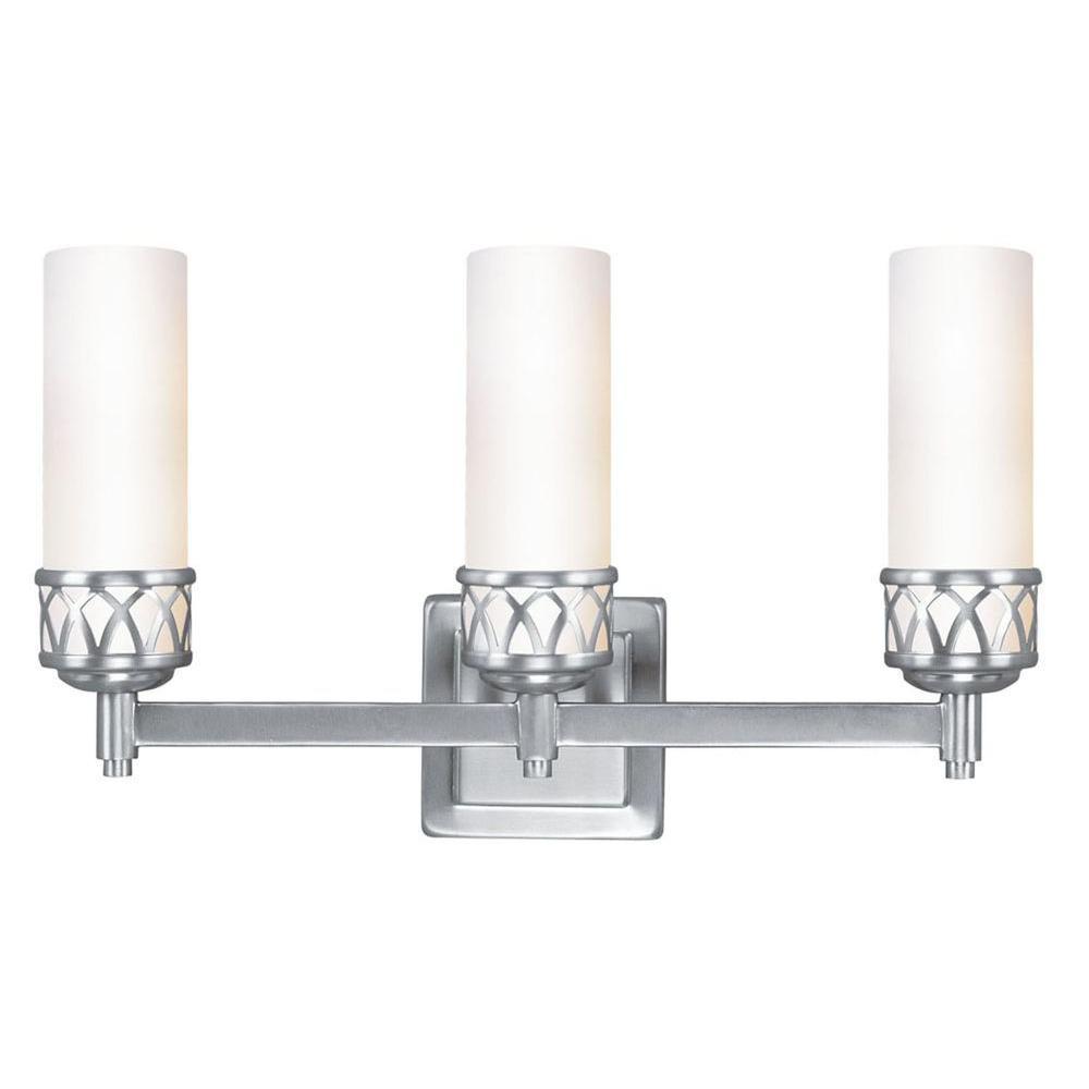 3-Light Brushed Nickel Candelabra Bath Vanity Light