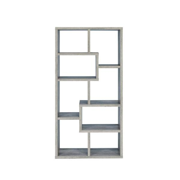 70.75 in. Gray Wood 8-shelf Standard Bookcase with Open Back