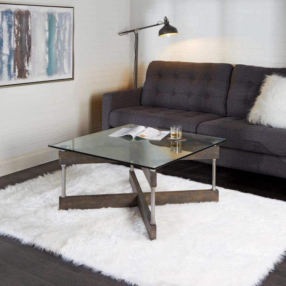 Garth X Beam Black Square Glass Coffee Table
