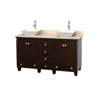 Acclaim 60 in. W Double Vanity in Espresso with Marble Vanity Top in Ivory and White Sinks