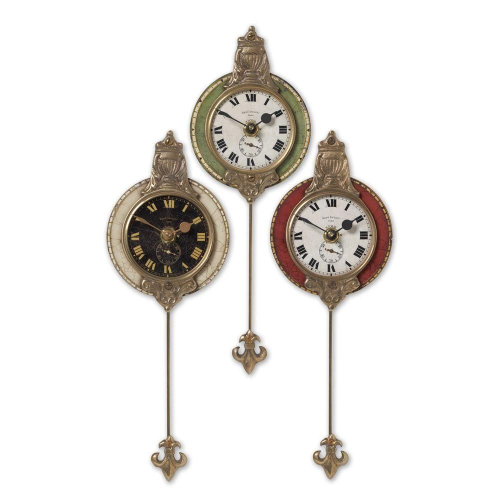 Global Direct 11 in. x 4 in. Ornate Petite Wall Clocks (3-Piece)-DISCONTINUED