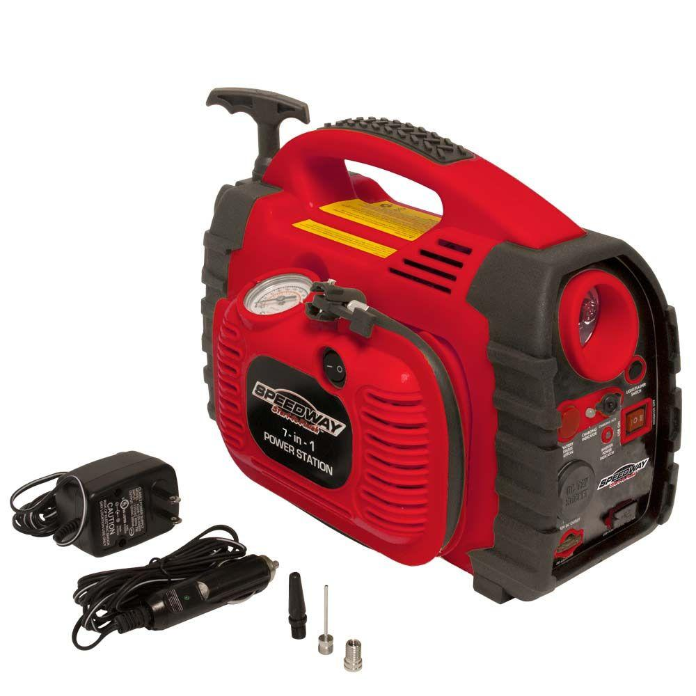 SPEEDWAY 7-in-1 Powerstation Emergency Inflator with Battery Starter and Flashlight
