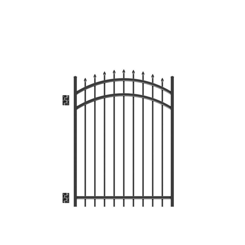 Cascade 4 ft. x 5 ft. Heavy-Duty Black Aluminum Arched Pre-Assembled Fence Gate