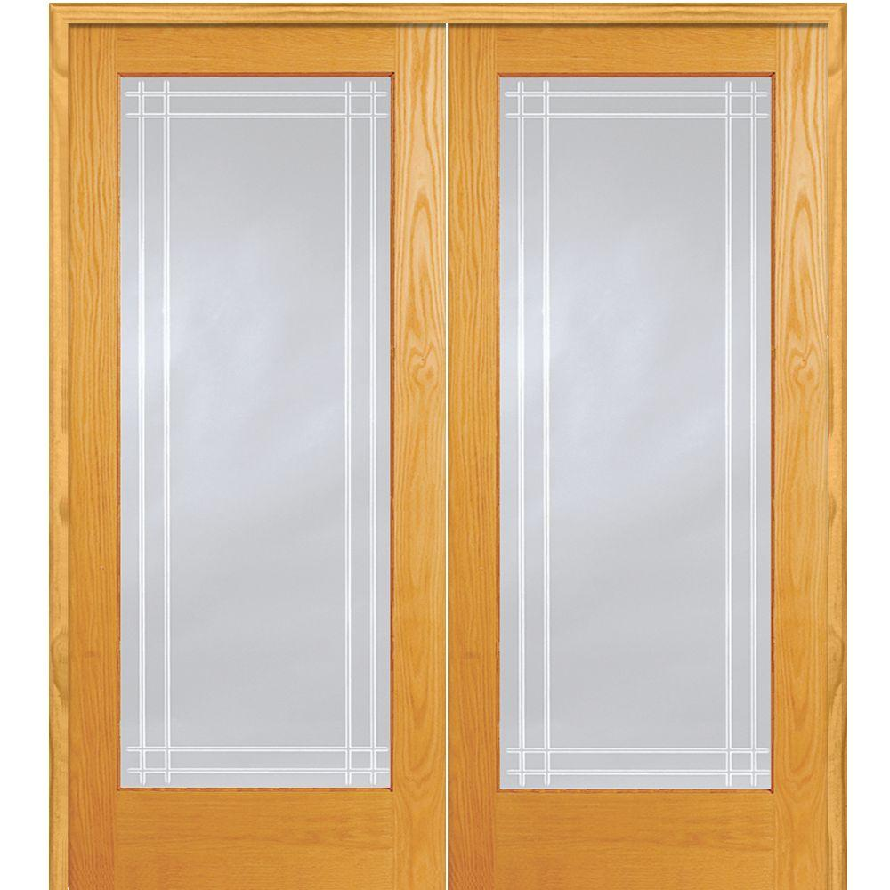 Mmi Door 72 In X 80 In Both Active Unfinished Pine Clear Glass 1 Lite Perimeter V Groove