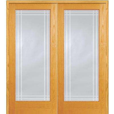 60 in. x 80 in. Both Active Unfinished Pine Wood Full Lite Clear Perimeter V-Groove Prehung Interior French Door