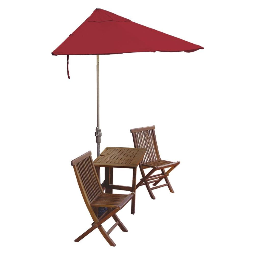 Blue Star Group Terrace Mates Villa Standard 5-Piece Patio Bistro Set with 9 ft. Red Olefin Half-Umbrella
