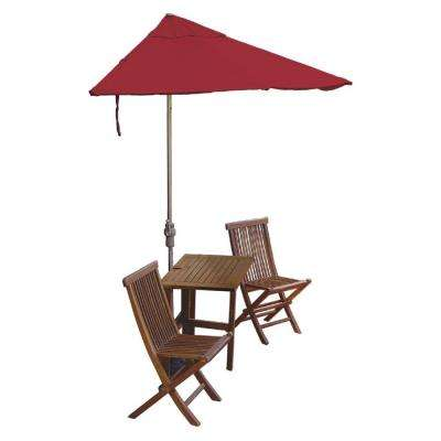 Terrace Mates Villa Standard 5-Piece Patio Bistro Set with 9 ft. Red Sunbrella Half-Umbrella