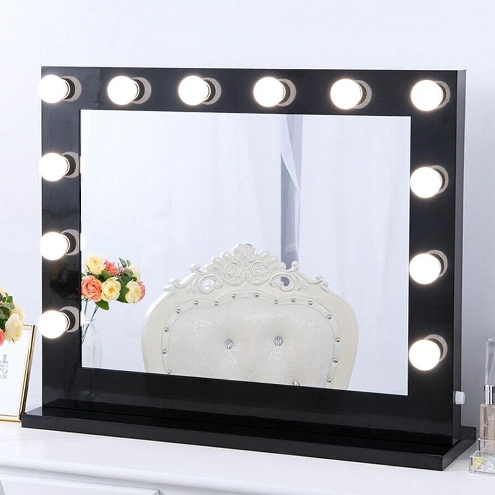 Boyel Living 30 In X 26 In Black Hollywood Makeup Vanity Mirror With Light Large Stage Beauty Mirror Xd 8065 Black The Home Depot