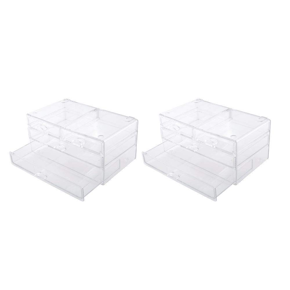 Kenney 4-Drawer Bathroom Countertop Organizer in Clear (Set of 2)