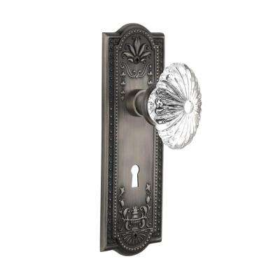 Meadows Plate with Keyhole 2-3/4 in. Backset Antique Pewter Passage Oval Fluted Crystal Glass Door Knob