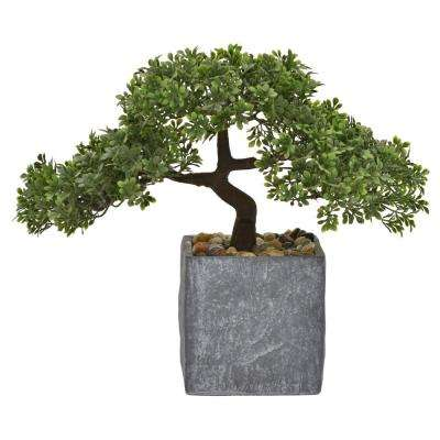 11.5 in. Faux Bonsai in Flower Pot in Green