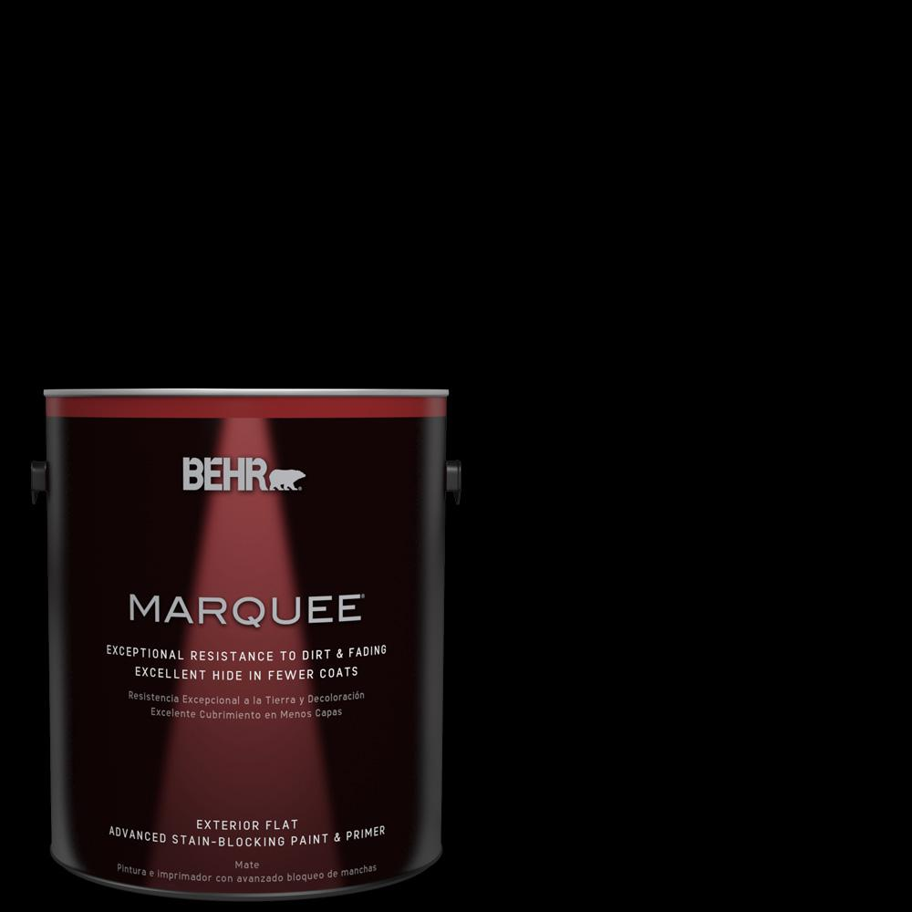 Behr Marquee 1 Gal Black Matte Exterior Paint And Primer In One 445301 The Home Depot