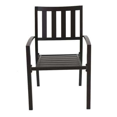 Mix and Match Brown Slat Outdoor Dining Chair (2-Pack)