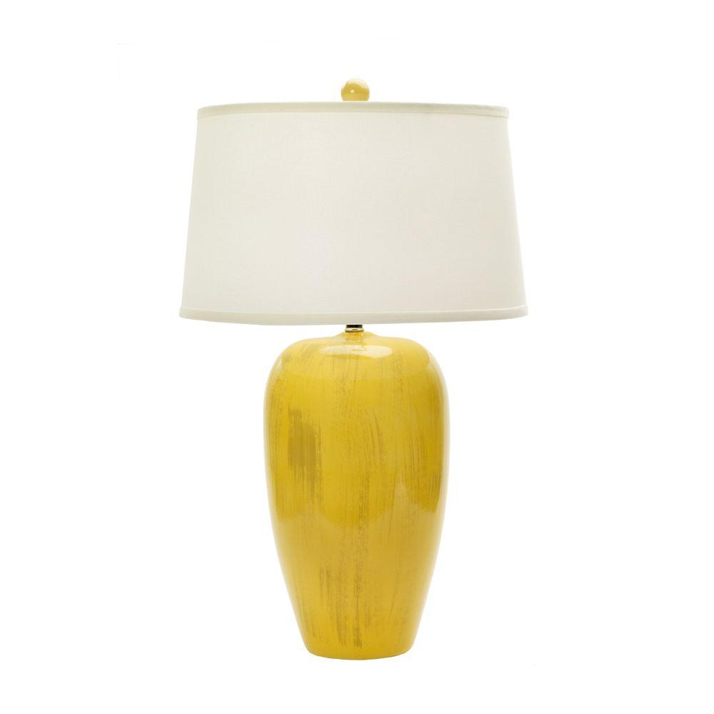 29 in. Rustic Goldfinch Crackle Ceramic Table Lamp