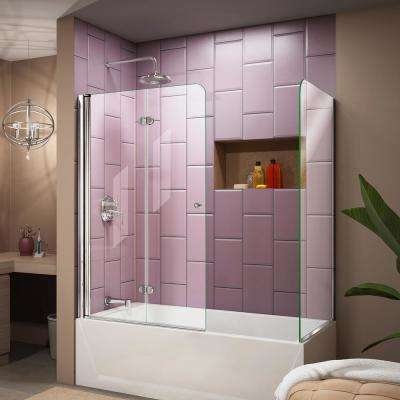 Aqua Fold 56 in. to 60 in. x 58 in. Semi-Frameless Hinged Tub Door with Return Panel in Chrome