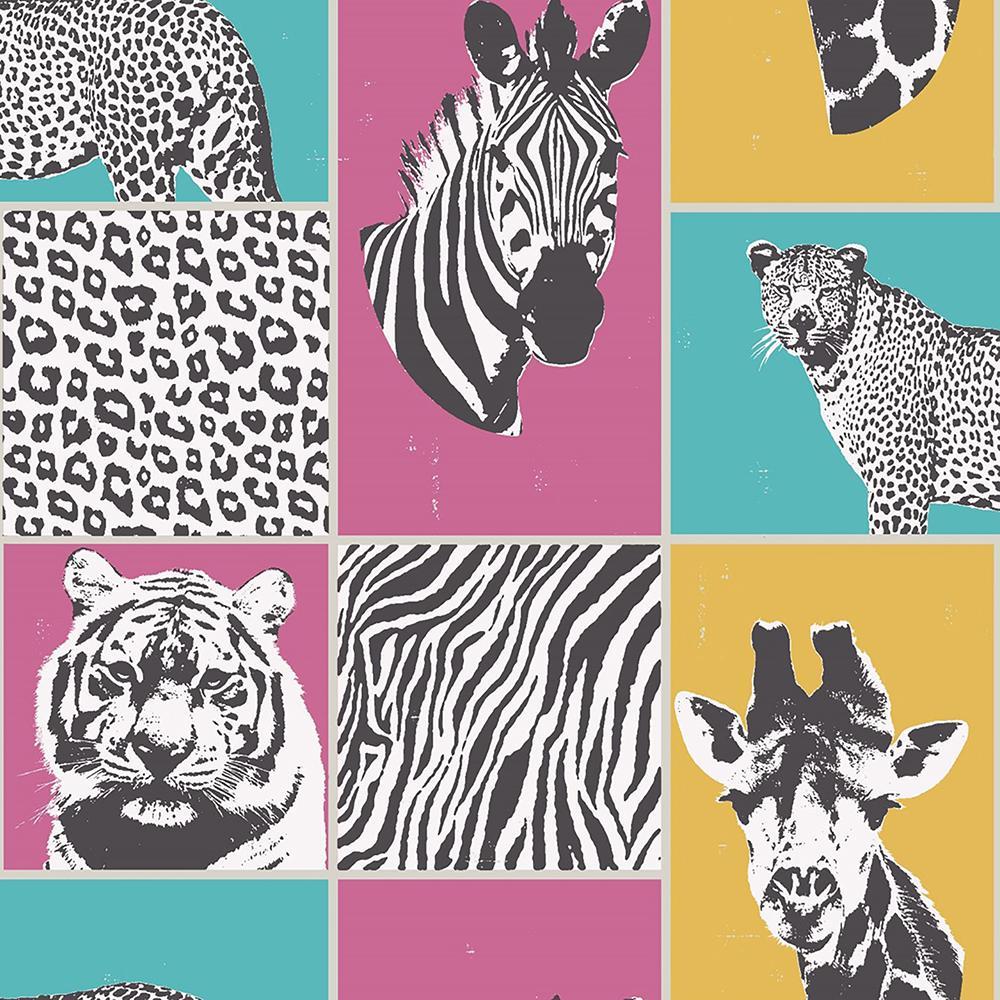 8 In X 10 In Zoya Multi Safari Wallpaper Sample