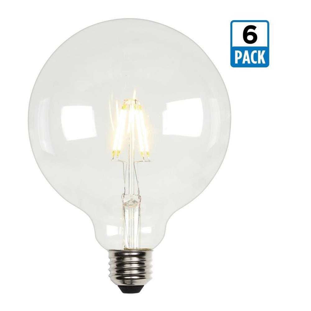 60-Watt Equivalent G40 Dimmable Clear Filament LED Light Bulb Soft White Light (6-Pack)