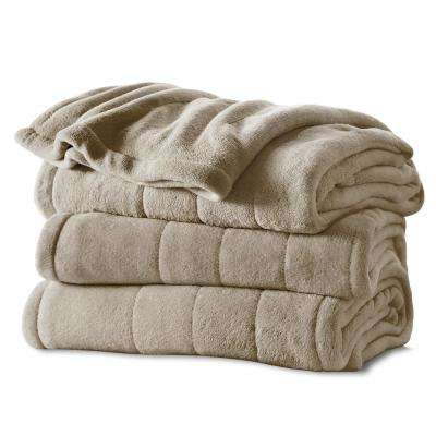 King Channeled Microplush Heated Blanket, Mushroom