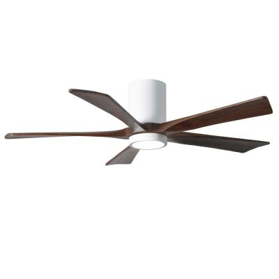 Irene 52 in. LED Indoor/Outdoor Damp Gloss White Ceiling Fan with Remote Control and Wall Control