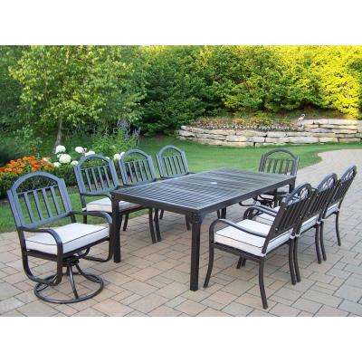 Rochester 9 Piece Patio Dining Set With 2 Swivel Chairs And Cushions