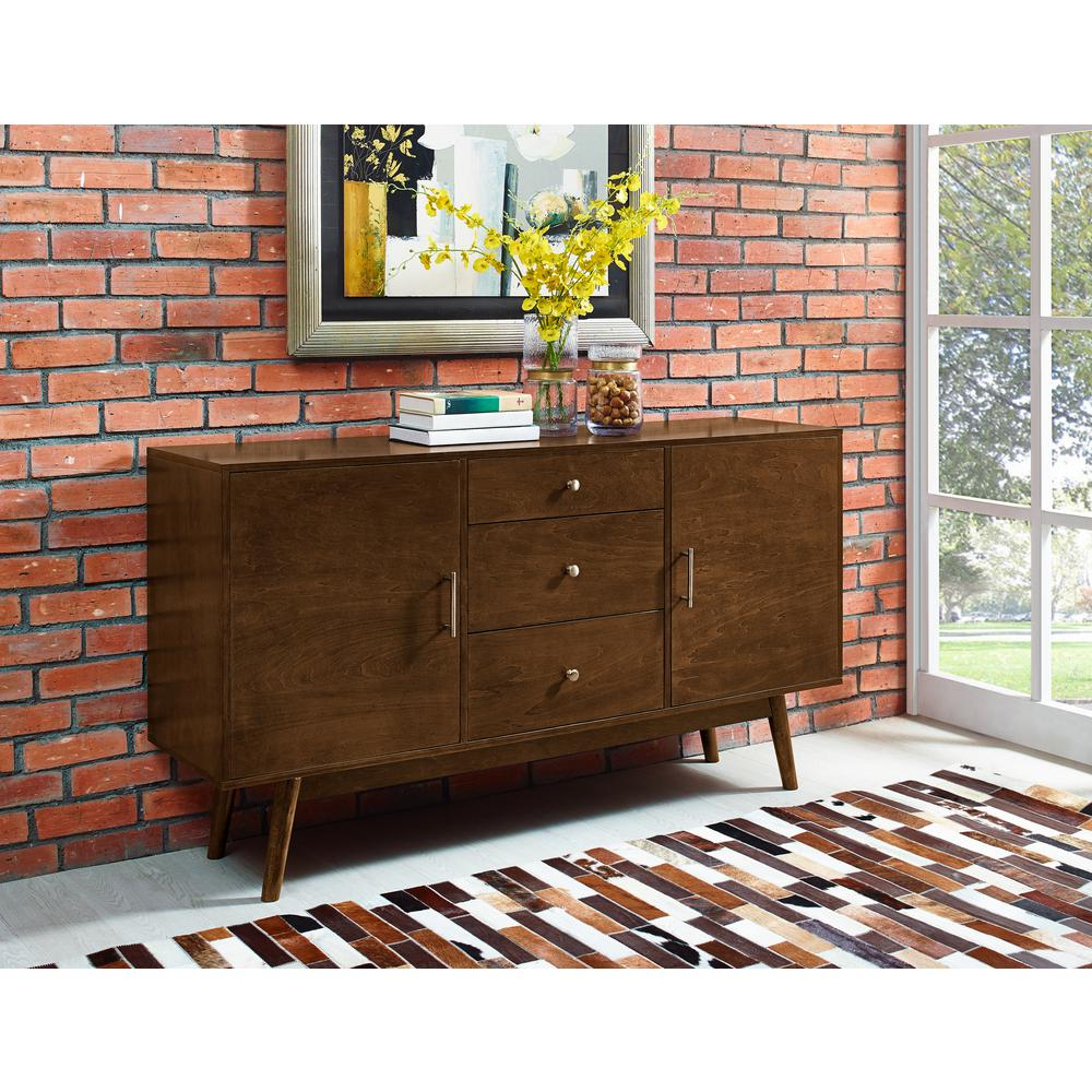 Walker Edison Furniture Company Mid Century 60 In. Walnut Modern Wood TV  Console
