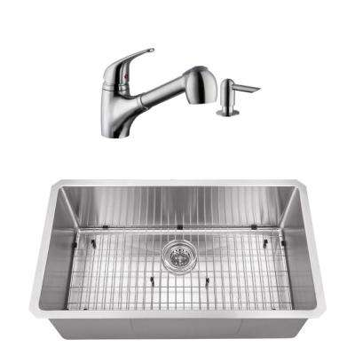 Undermount Stainless Steel 32 in. Radius Corner Single Bowl Kitchen Sink with Brushed Nickel Faucet
