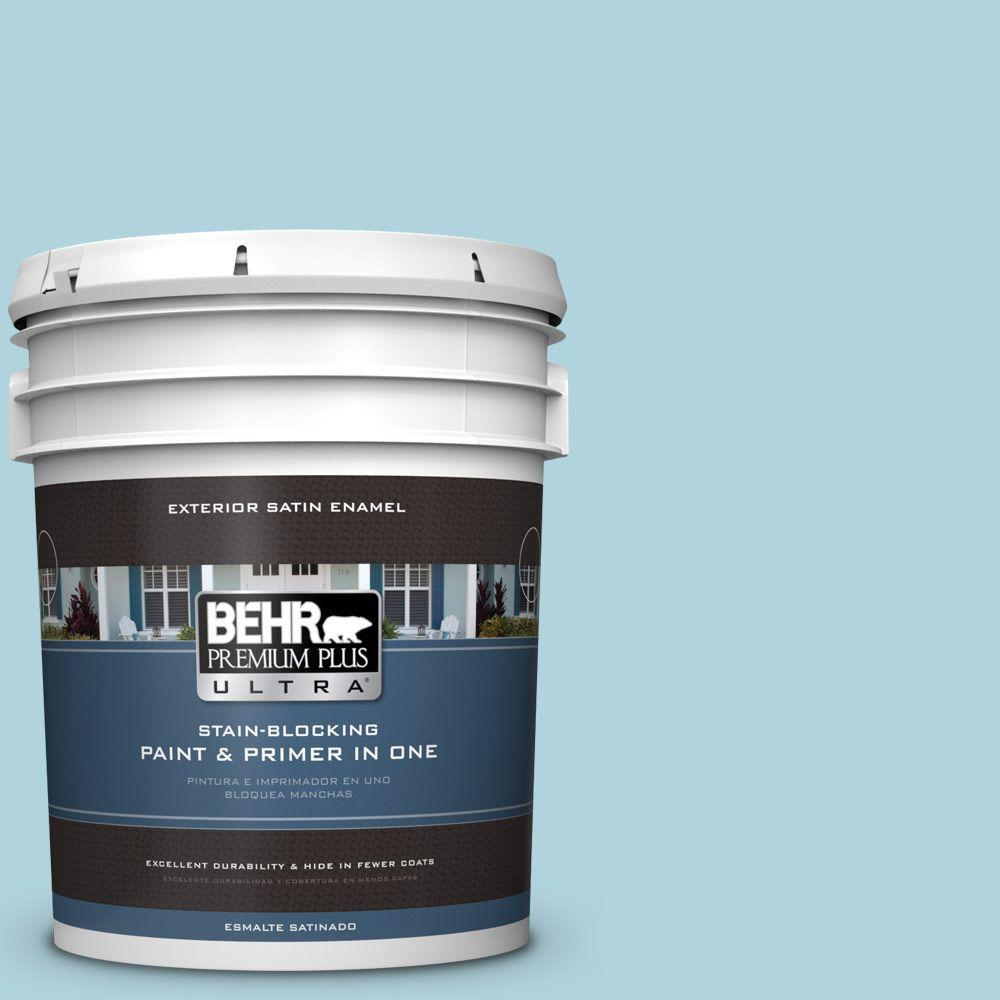 BEHR Premium Plus Ultra 5-gal. #520E-2 Tropical Breeze Satin Enamel Exterior Paint