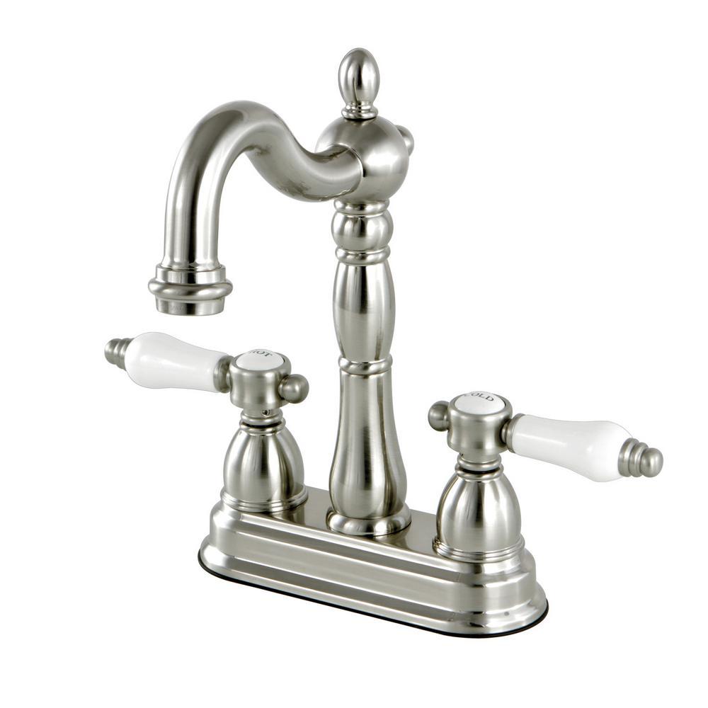 Victorian 2-Handle Bar Faucet in Satin Nickel