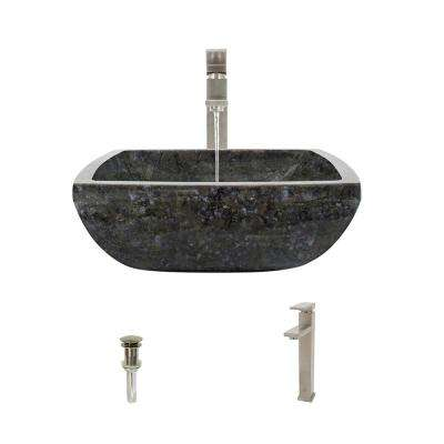 Stone Vessel Sink in Butterfly Blue Granite with 721 Faucet and Pop-Up Drain in Brushed Nickel