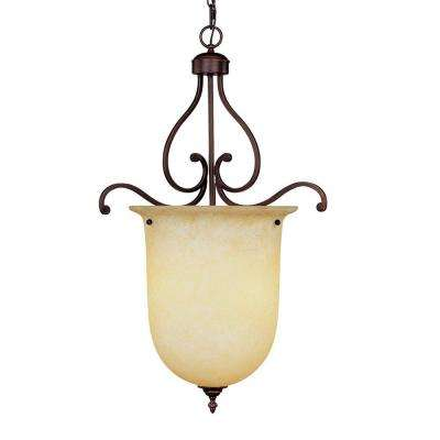 3-Light Rubbed Bronze Pendant with Turinian Scavo Glass