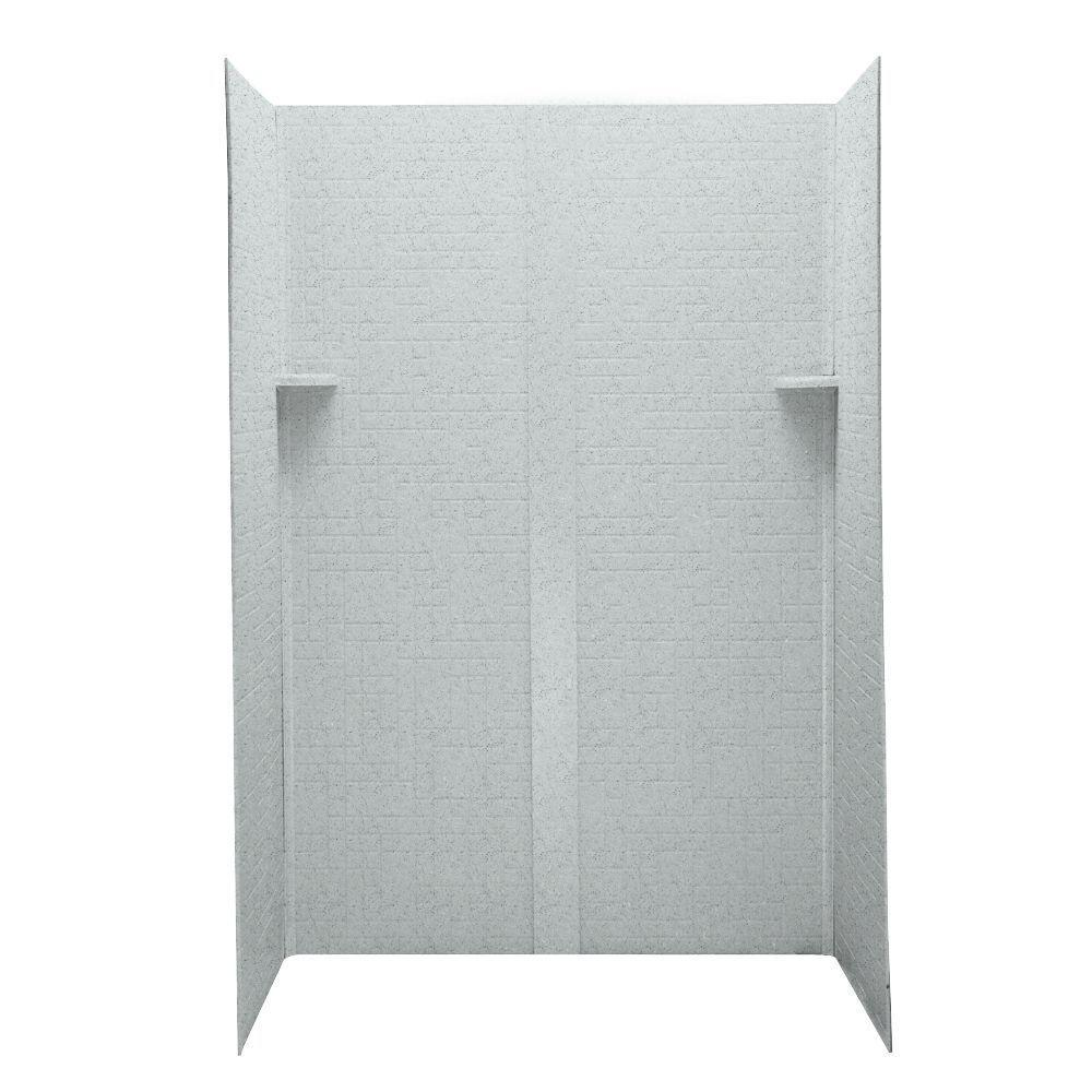 Swanstone Geometric 32 in. x 48 in. x 72 in. Five Piece Easy Up Adhesive Shower Wall Kit in Tahiti Gray-DISCONTINUED