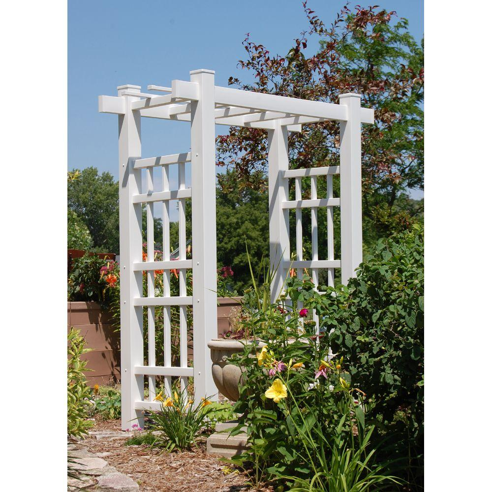 Good White Vinyl PVC Windsor Arbor 11112   The Home Depot