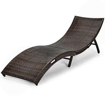 Folding Rattan Wicker Patio Couch Bed Full Assemble Outdoor Chaise Lounge Chair without Cushion