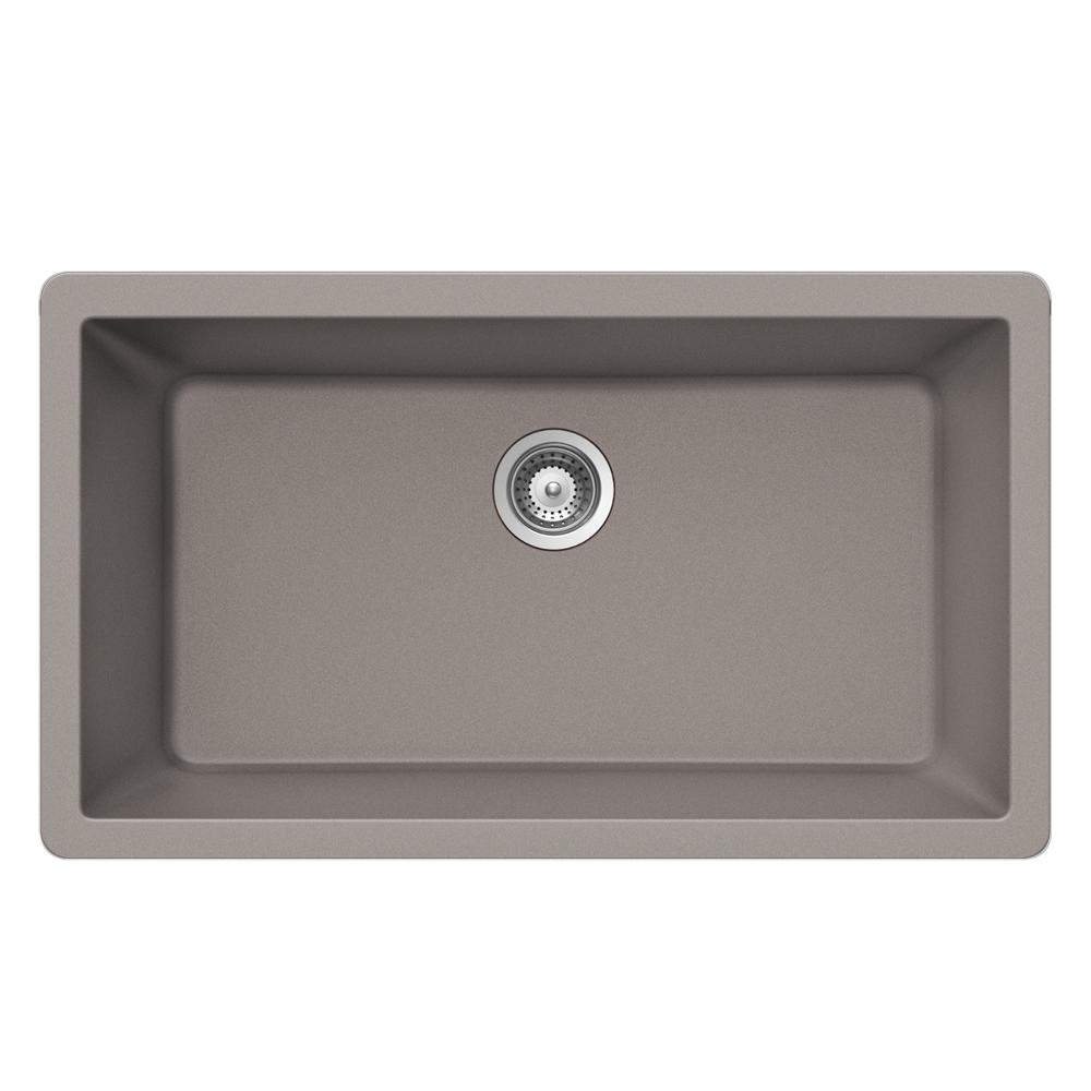 Quartztone 33 in. Undermount Large Single Bowl Sink in Taupe