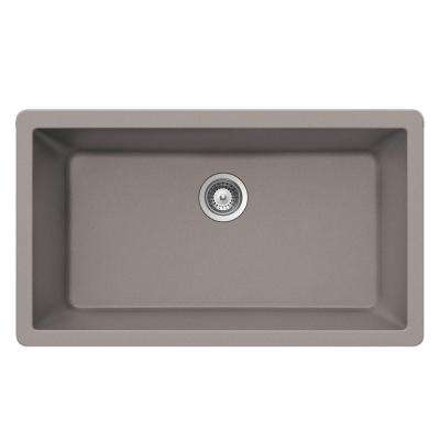 Undermount Quartz 33 in. 0-Hole Large Single Bowl Kitchen Sink in Taupe