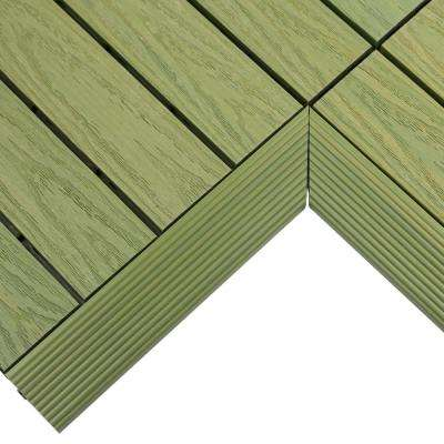 1/6 ft. x 1 ft. Quick Deck Composite Deck Tile Inside Corner in Irish Green (2-Pieces/box)