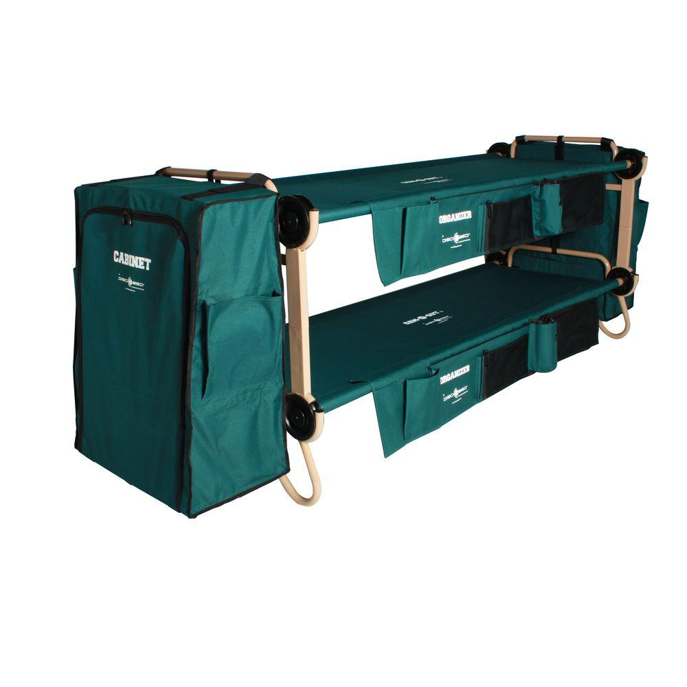 32 in. Green Bunkbable Beds with Bed Side Organizers and Hanging