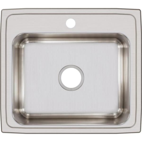 Lustertone Drop-In Stainless Steel 22 in. 1-Hole Single Bowl Kitchen Sink
